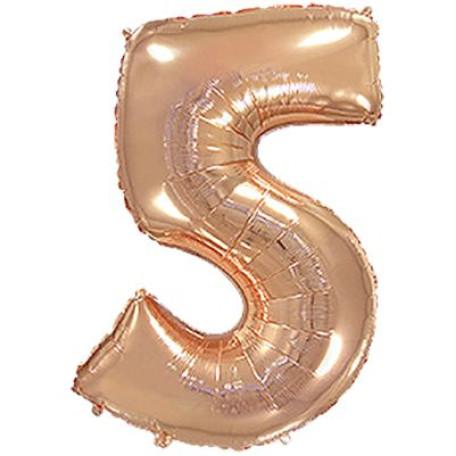 Фольгированная цифра «5» розовое золото. ЛЕТАЕТ