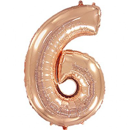 Фольгированная цифра «6» розовое золото. ЛЕТАЕТ