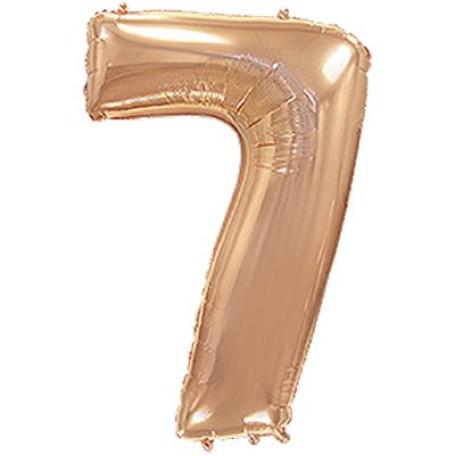 Фольгированная цифра «7» розовое золото. ЛЕТАЕТ