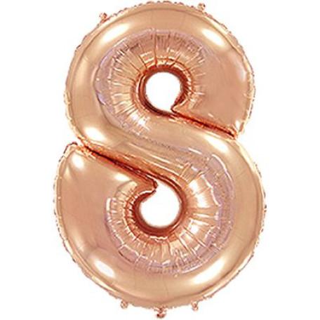Фольгированная цифра «8» розовое золото. ЛЕТАЕТ