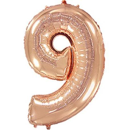 Фольгированная цифра «9» розовое золото. ЛЕТАЕТ