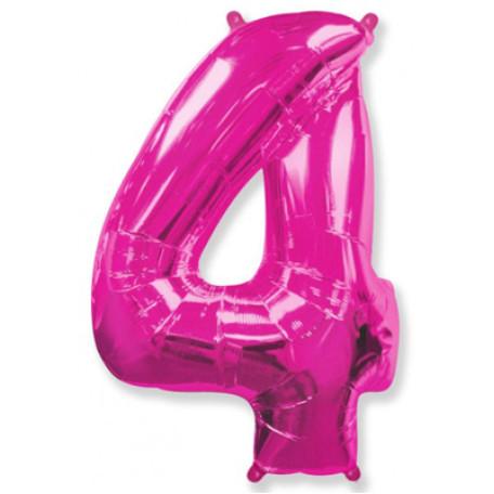 Фольгированная цифра «4» розовая. ЛЕТАЕТ