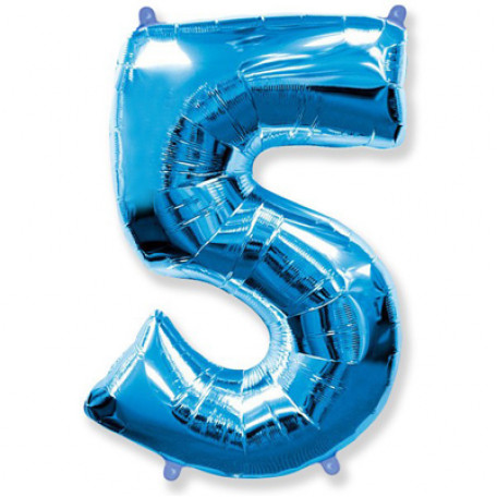 Фольгированная цифра «5» синяя. ЛЕТАЕТ