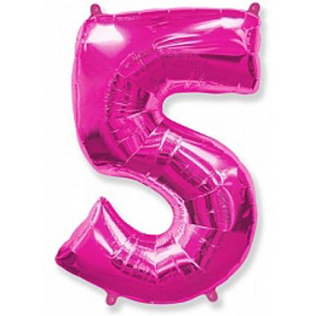 Фольгированная цифра «5» розовая. ЛЕТАЕТ