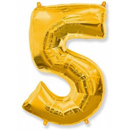 Фольгированная цифра «5» золото. ЛЕТАЕТ