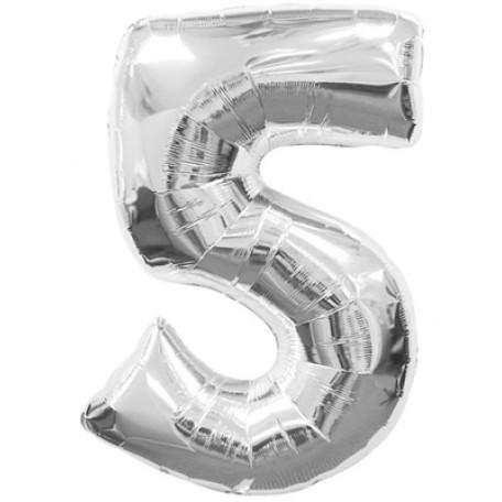 Фольгированная цифра «5» серебро. ЛЕТАЕТ