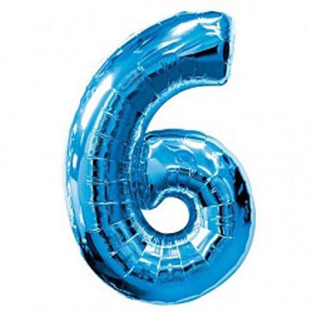 Фольгированная цифра «6» синяя. НЕ ЛЕТАЕТ