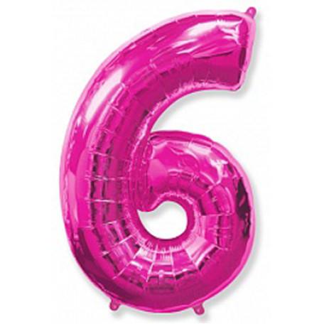 Фольгированная цифра «6» розовая. ЛЕТАЕТ
