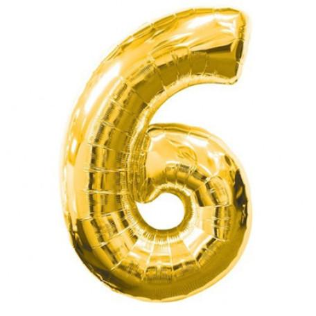 Фольгированная цифра «6» золото. ЛЕТАЕТ