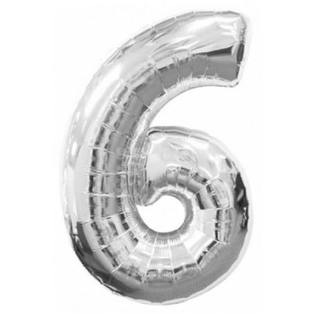 Фольгированная цифра «6» серебро. ЛЕТАЕТ