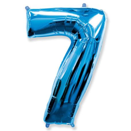 Фольгированная цифра «7» синяя. ЛЕТАЕТ