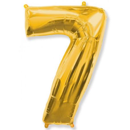 Фольгированная цифра «7» золото. НЕ ЛЕТАЕТ