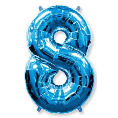 Фольгированная цифра «8» синяя. ЛЕТАЕТ
