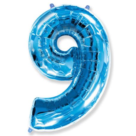 Фольгированная цифра «9» синяя. ЛЕТАЕТ