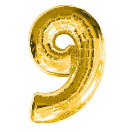Фольгированная цифра «9» золото. НЕ ЛЕТАЕТ