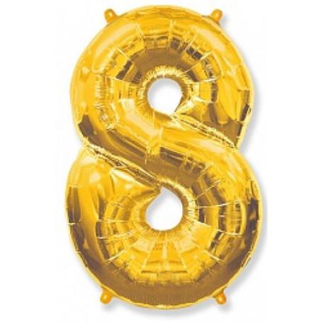Фольгированная цифра «8» золото. НЕ ЛЕТАЕТ