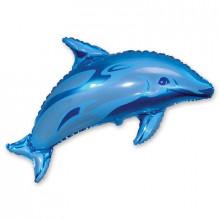 """Фольгированная фигура ''Дельфин"""" (голубой)"""