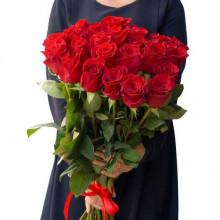 25 красных роз ↑=70см