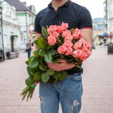 19 розовых роз ↑=80 см